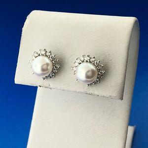 Designer BL 14k White Gold White Pearl Round Cut Diamond Halo Stud Earrings