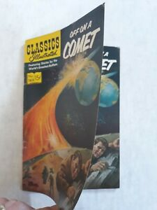 Classics illustrated 149 off on a comet Jules Verne. double cover