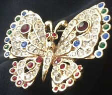 Stone Gold Tone Metal Brooch Butterfly Multi Color Rine