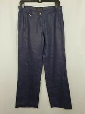 ROBERTO CAVALLI Womens Dark Blue Linen Pants Gold Tone Buttons Italy Size 26