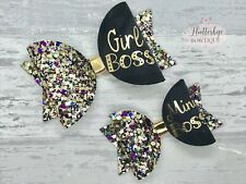 Small Mini Boss Bow, Gold Glitter Bow, Personalised glitter Hair Bow Clip
