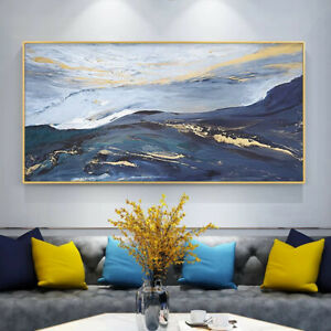 """HH170 Large Canvas Hand-painted gold foil scenery oil painting Unframed 48"""""""