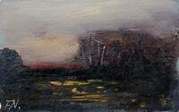 Fred Nömeier *1938:  Landschaft Sonnenaufgang über herbstlichem Hain Ölgemälde