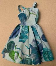 Vintage Doll Barbie Size Summer Dress Blue Floral Straps Gathered Skirt