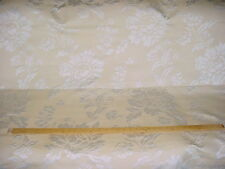 4-3/4Y PIERRE FREY SATINY SILVER WHITE FLORAL DAMASK UPHOLSTERY DRAPERY FABRIC