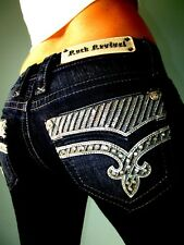 Buckle ROCK REVIVAL KLARRY BOOT Embellished Low Rise Dark Blue Jeans 25 x 32 NEW