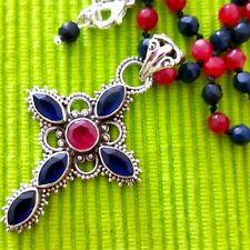 'MAGNIFICENT!  VINTAGE 925 SILVER NATURAL RUBY/SAPPHIRE NECKLACE WITH CROSS/22""