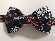 NEW Custom Mens Bow Tie Pre-tied Adjustable Navy/Orange Floral Handmade bowtie
