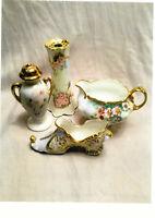 (4) Floral Porcelain items-Salt Shaker,Hair Pin Holder,Ladies Shoe & Creamer-CUT