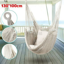 Swing Chair Canvas Hammock Hanging Seat Rope Porch Patio Garden Indoor w/2Pillow