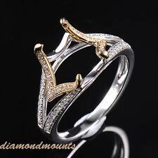 8x10mm Cushion Cut Natural Diamond Semi Mount Ring Setting Solid 14K 2-Tone Gold