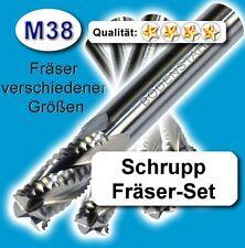 Schrupp-Fräsersatz, 8+10+12+16mm Schaftfräser HPC Metall Kunststoff hochl. Z=4