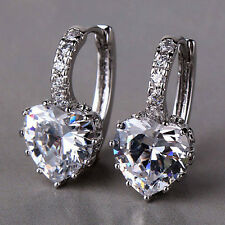 NEW 18CT White Gold filled Heart Earrings Special Christmas Gift gf