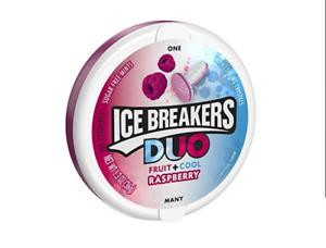 ICE BREAKERS DUO Fruit + Cool Mints, Raspberry flavor, Sugar Free, 1.3 oz (8 ct)