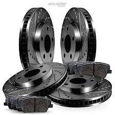 Full Kit Black Drilled Slotted Brake Rotors and Ceramic Pads 2008-2015 Scion xB