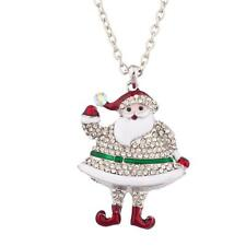 Lux Accessories See Ya Santa XMAS Hanging Pendant Necklace Covered Rhinestones