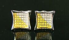 MENS/LADIES 9MM CANARY/WHITE REAL DIAMOND STUD EARRINGS