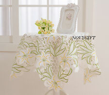 """White Square Table Cloth Runner Topper 36"""" Green Lily Floral Spring"""