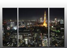 Quadro Moderno 3 Pezzi Cm 120X90 SKYLINE Stampa su Tela Arte Arredo Parigi Casa