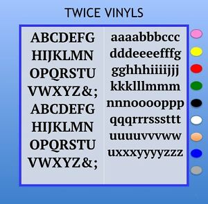 STICKY LETTERS Serif 20mm OR 25mm high vinyl alphabet set - any colour