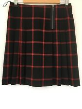 Marks & Spencer Collection Wool Blend Red Black Plaid Front Pleated Skirt UK 12