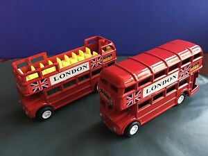 2 Bus Set  Of London Red Double Decker Metallic With Moving Wheels Souvenir Gift