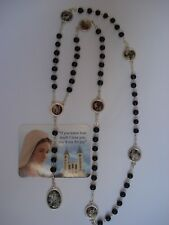 Rosary Our Lady Of The Seven Sorrows Black Pearl  Mater Dolorosa +Gift holy Card