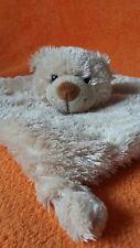 Beige Teddy Bear Comforter Soft Toy Blankie Doudou Bead Eyes Rattle Head
