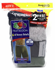 6 Blue Gray Green Large L 38-40 Inch Boxer Briefs Fruit Of The Loom G 97-102 CM