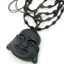 Obsidian Black Gem Tibet Buddhist Buddha Amulet Pendant Talisman Beads Necklace