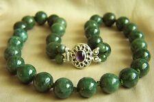 "Fabulous Vintage Deep GreenJadeite Jade Bead Sterling Necklace 20"" 127.2 g"