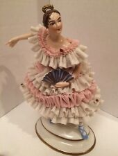 "7"" High Dresden Volkstedt Lace Ballerina Figure with Fan, German Porcelain"