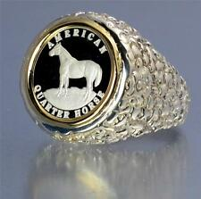 .999 PURE SILVER  Quarter Horse Coin in S/S + 14kt Gold Nugget Coin Ring Sz. 11