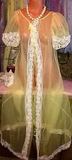 Vintage Belle Victorian Puff Chiffon Sheer Daisy Sunflower Lace Robe S M