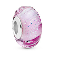 💎 Glittering Grooves Charm PANDORA SILVER & Pink Glass Sterling silver S925