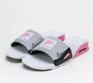 Nike AIR MAX 90 SLIDE UK 6.5 EU 40.5 Sliders Grey Pink White CT5241 100