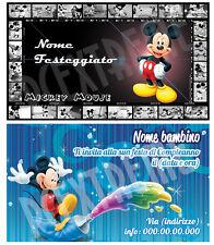 Biglietti - Inviti Compleanno personalizzati TOPOLINO - MICKEY MOUSE - 30 Pz