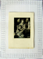 Original Old Antique Print C1790-C1900 Engraving Holy Family 18th Century