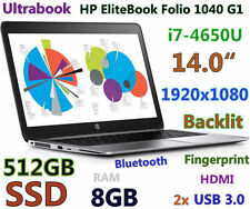 "Ultrabook HP EliteBook Folio 1040 G1 i7-4650U 512GB-SSD 8GB 14"" Full HD Backlit"