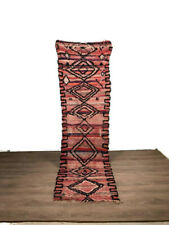 Traditionnel Morrocan Rug Carpet Boucherouite Hallway Handmade Area 10'X2' Feet
