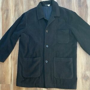 Mens Baracuta Charcoal Wool Cashmere Blend Button Front Coat Pockets 2XT