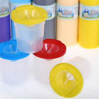 1pc Plastic Non Spill Water Cup Paint Pot & Stopper Lid for Kids Art Painting