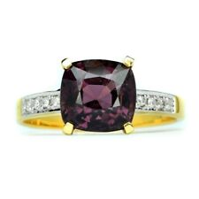 3.35ct Natural Purple Spinel With 8pcs 0.048ct VS/G DIAMOND 18K Solid Gold Ring