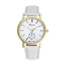 Unisex Women Men Leather Band Watch Analog Quartz Vogue Wrist Watches White CA