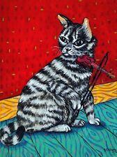 american shorthair grey cat art Print violin impressionism 11x14