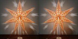 "Set of 2 Ikea STRALA White 18"" 7-Point Star Shape Tabletop Lamps 002.907.64"
