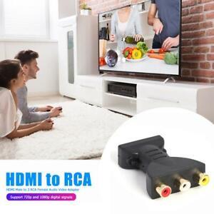 HDMI Male to 3 RCA Female Composite AV Audio Video Adapter Converter for TV