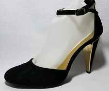 Cosmopolitan Ravishing Womens 10 M Black Gold  Ankle Strap Stiletto Heels Shoes