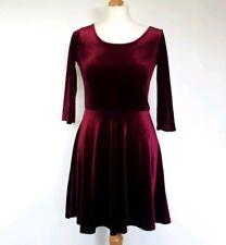 Purple Velvet Skater Dress Size 12 Boohoo