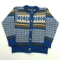 Norlander Womens Vintage Nordic Norwegian HEAVY Cardigan SMALL Wool Jumper